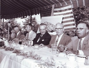 Following the groundbreaking ceremony for the Hotel El Dorado, a banquet was held, in which several people gave speeches, including Frank F. Sebastian (center, in black suit). / Photo courtesy, Bob Slobe