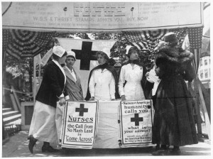 Nurses work at an American Red Cross recruiting station to field new members during World War II. / Photo courtesy of the American Red Cross