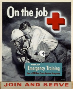"This 1956 ""On the Job"" recruiting poster by John Gould is among the many posters that were designed to recruit American Red Cross volunteers. / Photo courtesy of the American Red Cross"