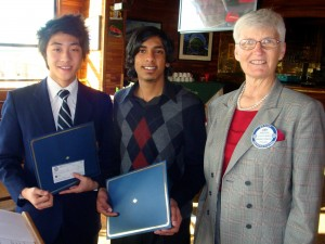 "Daniel Li and Simon Lal, both from John F. Kennedy High School, presented speeches on the topic, ""Dare Mighty Things"" as part of the speech competition held by the Rotary Club of Pocket/Greenhaven in February. Li won the competition and will advance to the next level in the regional competition. Left to right, Li, Lal and Rotarian Judy Foote. / Photo courtesy"