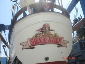 The custom artwork on the Sea Eagle's stern was designed by Jack A. Payne. / Photo courtesy of Jack G. and Brenda Payne