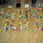 "Brookfield School students arranged some of the 1,000 origami cranes they created to spell out ""HOPE."" / Photo courtesy, Brookfield School"