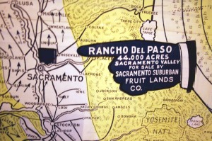This portion of a 1915 real estate map points out the location of Rancho del Paso, a historic Mexican land grant, which included what is now recognized as the Arden area and part of present day Carmichael. / Photo courtesy, California State Library