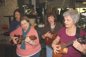 Knit Pickers members (left to right) Jane Nakagawa, Janis Furuta, Sandy Nishimura-Yee and Carrie Parker perform at Caffé Latté on Greenhaven Drive. / Valley Community Newspapers photo, Lance Armstrong