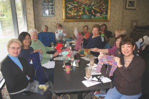 The Yo Mamas knitters group is shown at one of their latest gatherings. / Valley Community Newspapers photo, Lance Armstrong
