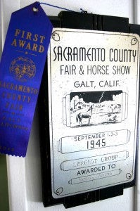 This 1945 Sacramento County Fair and Horse Show first place ribbon and plaque, which is on loan from Geoff Kenefick to the fair's administration office, is among the awards that were presented during the fair's existence in Galt./ Valley Community Newspapers photo, Lance Armstrong