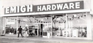 Emigh Hardware is shown in 1952 – its first year of operation at its Country Club Centre location. / Photo courtesy, Emigh Ace Hardware