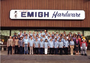 Emigh Ace Hardware employees stand in front of the 3555 El Camino Ave. store in this 1980 photograph. / Photo courtesy, Emi