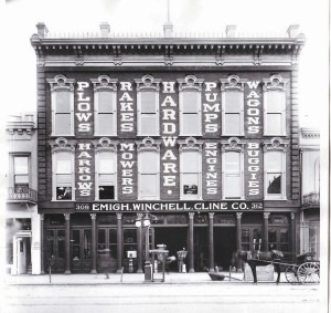 The business, which was then known as the Emigh-Winchell-Cline Co., moved into the old Thomson-Diggs Co. quarters at 308-312 J St. in July 1912. / Photo courtesy, Emigh Ace Hardware
