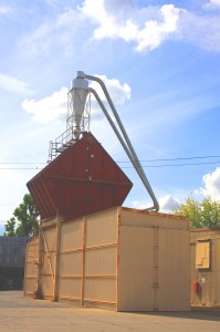 This Setzer Forest Products sawdust bin was built in the 1950s. / Land Park News photo, Lance Armstrong