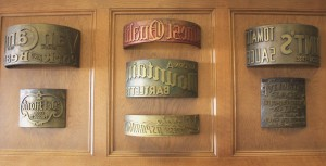 A Setzer Forest Products display features brass printing dyes that were used at the plant during its earlier years. / Land Park News photo, Lance Armstrong
