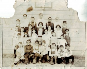 This 1921 Upper Lisbon School photograph shows the school's students, which included twin brothers Jessie and Joe Freitas at the lower left corner of this image. Jessie is the boy on the far end of the photograph. / Photo courtesy, PHCS