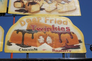Unique fried foods like the ones advertised on this sign at a past California State Fair are among the annual event's most popular edible items. / Valley Community Newspapers photo, Lance Armstrong
