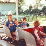 The original Kiddie Land roller coaster, which was built in about 1949, is shown still in operation in this c. 1987 photograph. / Photo courtesy, Funderland