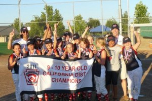 WE ARE THE CHAMPIONS…the Land Park Pacific All Stars 9-10 girls softball team beat Consumnes 2 – 1, to win the District 7 Championship last week. / Photo courtesy