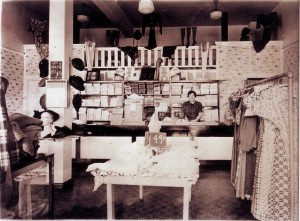 Alice Azevedo stands inside her Oak Park apparel shop on its opening day, Aug. 17, 1935. / Photo courtesy, PHCS