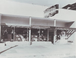 The exterior of the third Oak Park location of California Apparel is shown in this 1952 photograph. / Photo courtesy, PHCS