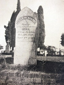 This c. 1909 photograph shows the gravesite of the Rev. Elijah Merchant, a pioneer preacher and pastor, who had his ashes interred in the New Helvetia Cemetery in 1857. / Photo public domain