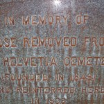 This photograph of part of the main marker for East Lawn Memorial Park's New Helvetia mass burial site presents a close-up view of a portion of the marker's inscription. / Valley Community Newspapers photo, Lance Armstrong