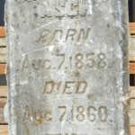 This four-sided tombstone, which was discovered in Auburn about two years ago, is one of only two verified original tombstones from the New Helvetia Cemetery. / Valley Community Newspapers photo, Lance Armstrong