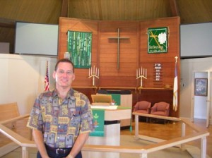 TRADITIONAL services are held in Greenhaven Lutheran Church's original facility that was built in 1968. Contemporary services are held in the newer church hall at the same time. Pastor Becker preaches each Sunday, but alternates services with Pastor Daniel Buringrud. / Valley Community Newspapers photo, Susan Laird