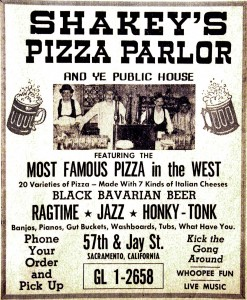 This 1961 advertisement highlights some of Shakey's Pizza Parlor's offerings at the time. / Photo courtesy, The Lance Armstrong Collection