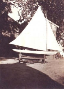 This sail boat model, which was used for racing on the lake at Southside Park, was built by Victor Dias Silva in 1924. / Photo courtesy, the Silva family