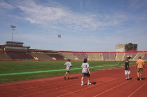 As part of the renovation, the stadium's current track will receive a new surface and the press box, shown in the background to the left of the photograph, will be demolished and replaced by a single-story press box. / Valley Community Newspapers photo, Lance Armstrong