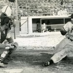 CATCHER Bill Werry of the International Longshore and Warehouse Union-sponsored team prepares to tag a sliding Nino Spatafore out at home plate, while batter Jim Knight looks on in this 1957 photograph. / Photo courtesy, Bill Werry