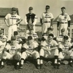 MEMBERS of the 1953 Sacramento club of the county league are shown on the grounds of Folsom Prison. Among the team's members were now-current members of the Noah's Bagels Gang, Walt Fitzpatrick (front row, fifth to right) and Mike Bakarich (middle row, fourth to right). / Photo courtesy, Walt Fitzpatrick