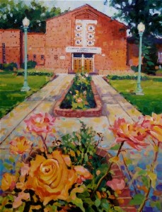 CLUNIE CENTER. Painting by East Sacramento artist David Lobenberg. The McKinley Library and Clunie Community Center will celebrate 75 years on Sunday, Oct. 23. / Image courtesy, Friends of McKinley Library