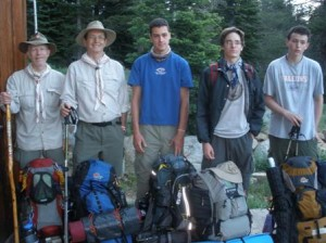 HOPEFUL AND ADVENTUROUS, these trekkers from Scout Troop 259 took a snapshot before their six-day hike along the Pacific Crest Trail from Echo Lake to Donner Pass. Left to right, Bill Kirk, Ike Krieg, Matthew Puliz, Mark Matney and Joseph. / Photo courtesy, Todd Thompson