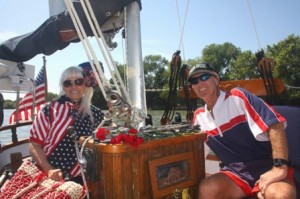 Sacramento area residents Jack G. and Brenda Payne were both dressed in red, white and blue, patriotic attire for the event. / Valley Community Newspapers photo, Lance Armstrong