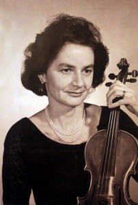 Hinda Westphal is shown with her violin in about 1960. / Photo courtesy, Hinda Westphal
