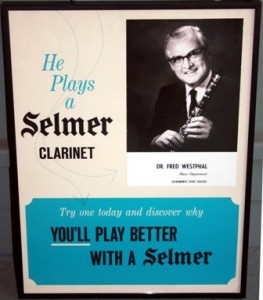 This 1960s Selmer clarinets promotional poster featured Dr. Frederick Westphal of Sacramento State College's music department. / Photo courtesy, Hinda Westphal