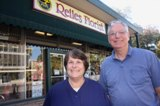 ALL IN THE FAMILY. Jim Relles and his sister, JoAnn (Relles) Bradley, stand in front of midtown Sacramento's Relles Florist. The business is celebrating its 65th year in business. / Valley Community Newspapers photo, Lance Armstrong
