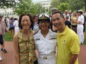 ALEXANDRA CHAN, seen here with her parents, Shelleyanne Chang and Charles Chan of Sacramento, is in her second year at the United States Naval Academy. / Photo courtesy