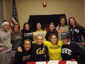 LETTERS OF INTENT SIGNERS. This fall, eleven seniors at St. Francis signed letters of intent to play college sports in 2012. Top row, left to right: Cora Stebbins (swimming), Paige Sellers (swimming), Haley Hughes (soccer), Emalia Seto (crew), Tessa Sandoval (tennis), Kamali Houston (crew), Nicolette Valicenti (crew). Bottom row, left to right: Ashley Noda (golf), Clara Nowinski (crew), Bryce Beckwith (water polo), Catherine White (crew). Crew is not an SFHS sport. / Photo courtesy, St. Francis High School