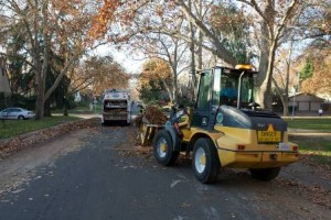 LEAF COLLECTIONS are often made with tractors in neighborhoods such as Land Park, Curtis Park, East Sacramento and the Pocket. / Photo courtesy, Steve Harriman