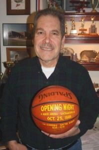 GREGG LUKENBILL holds a basketball from the first regular season Sacramento Kings game, which was held in 1985. / Valley Community Newspapers photo, Lance Armstrong