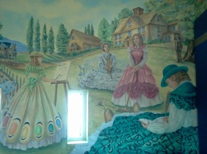 LITERARY IMAGES. A $20,000 mural depicting characters from beloved childrens' books is a feature of the Reading Tower at the Robbie Waters Pocket-Greenhaven Library. The mural was a gift from the Friends of the Library, celebrating the library's first anniversary last August. / Valley Community Newspapers photo, Corrie Pelc