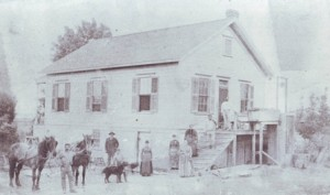THE NEVES FARM. Joseph and Mary Nevis and friends stand near the Nevis house early 1870s. / Photo courtesy, Sacramento Portuguese Cultural and Historical Society