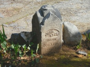 FOUND IN THE FOOTHILLS. The Asch family tombstone, shown in this February 2010 photograph, was located in a residential yard in Auburn for 55 years. / Photo courtesy, Susie O'Brien