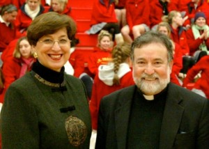 TWO BISHOPS. St. Francis High School President Marion Bishop, left, with Sacramento Bishop Jaime Soto on the campus of St. Francis High School. She will retire from the diocesan high school at the end of the month. / Photo courtesy of St. Francis High School