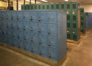 NEW LOCKERS adorn the boys' gym locker room at California Middle School. The lockers were donated in memory of late Land Park resident John Peyton Spurlock. Students can now store their items safely. / Valley Community Newspapers photo, Stuart King