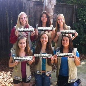 JUST SAY NO to texting and driving. The members of Girl Scout Troop 864 want everyone who drives and has a cell phone to be aware of the deadly dangers of distracted driving. Left to right, top row: Corina Crary, Christianna Louie and Macy Webb. Bottow row: Spencer Trussell, Karly Webb and Mariah Ruiz. Not pictured: Mecca Evans. / Photo courtesy, Girl Scout Troop 864