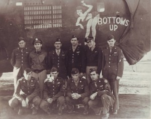 ONE HUNDRED MISSIONS. The 15th Air Force, 450th Bombardment Group pose in front of a Consolidated B-24J Liberator warplane. / Photo courtesy, John Kanelos