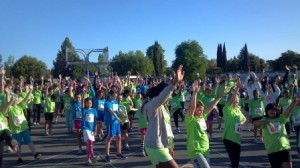 WARMING UP. Participants for the Spring Girls On the Run 5K held April 28 warm up for their race. / Photo courtesy, Girls On the Run