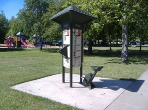 FITNESS FOR ALL. Lifetrail stations at Garcia Bend Park, such as this one, provide information for seniors on how to maintain physical strength. They also provide all members of the community with a way to stay (or to get) physically fit. / Valley Community Newspapers photo, Corrie Pelc