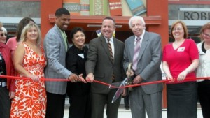 BRIGHT BEGINNINGS. The ribbon cutting for the grand opening of the Robbie Waters Pocket-Greenhaven Library was held on Aug. 28, 2010. Shown in the photograph from left to right are then-Pocket-Greenhaven Friends fundraising chair Kathi Windheim, Mayor Kevin Johnson, Sacramento Public Library director Rivkah Sass, Senate President Pro Tem Darrell Steinberg, Councilmember Robbie Waters, Pocket branch supervisor, Brendle Wells and California State Librarian Stacey Aldrich. / Photo courtesy, Pocket-Greenhaven Friends of the Library